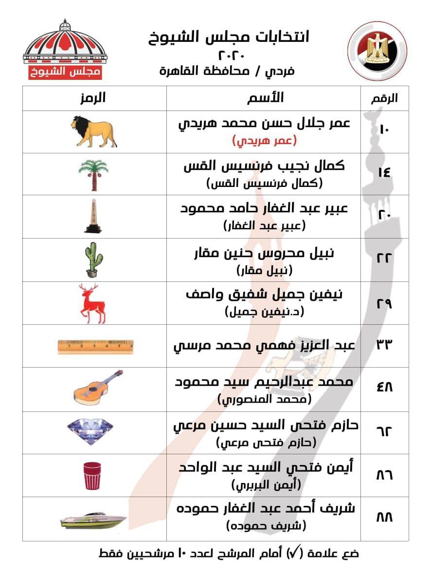 قائمة عمر هريدي لانتخابات مجلس الشيوخ