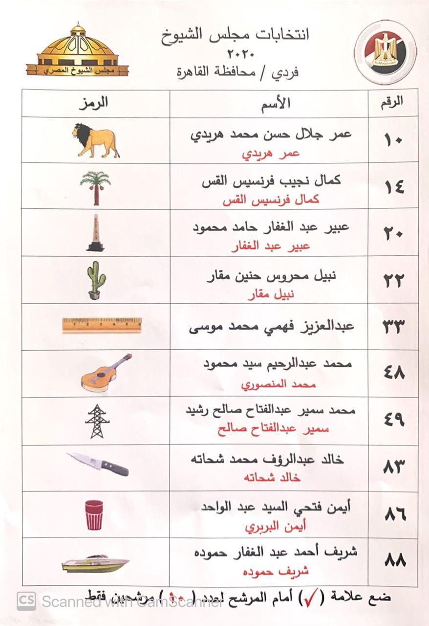 أسماء قائمة المحامي عمر هريدي