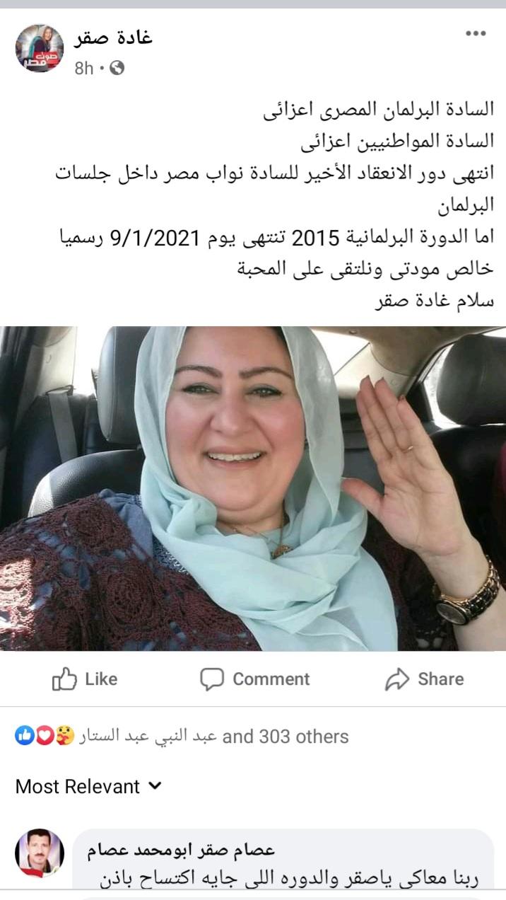 النائبة غادة صقر تعلن الاستعداد لانتخابات مجلس النواب ٢٠٢٠