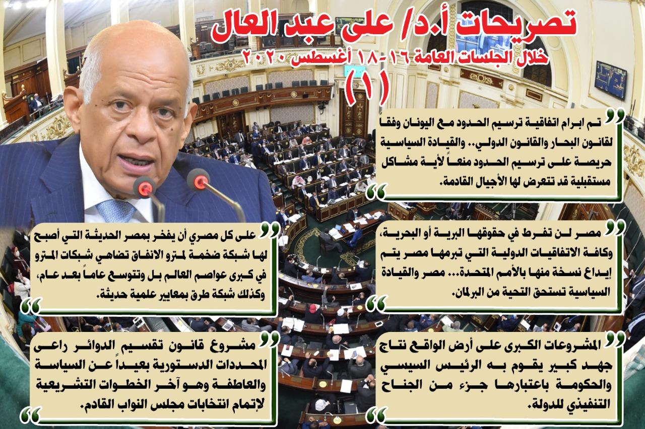 انفوجراف لتصريحات الدكتور علي عبد العال رئيس مجلس النواب