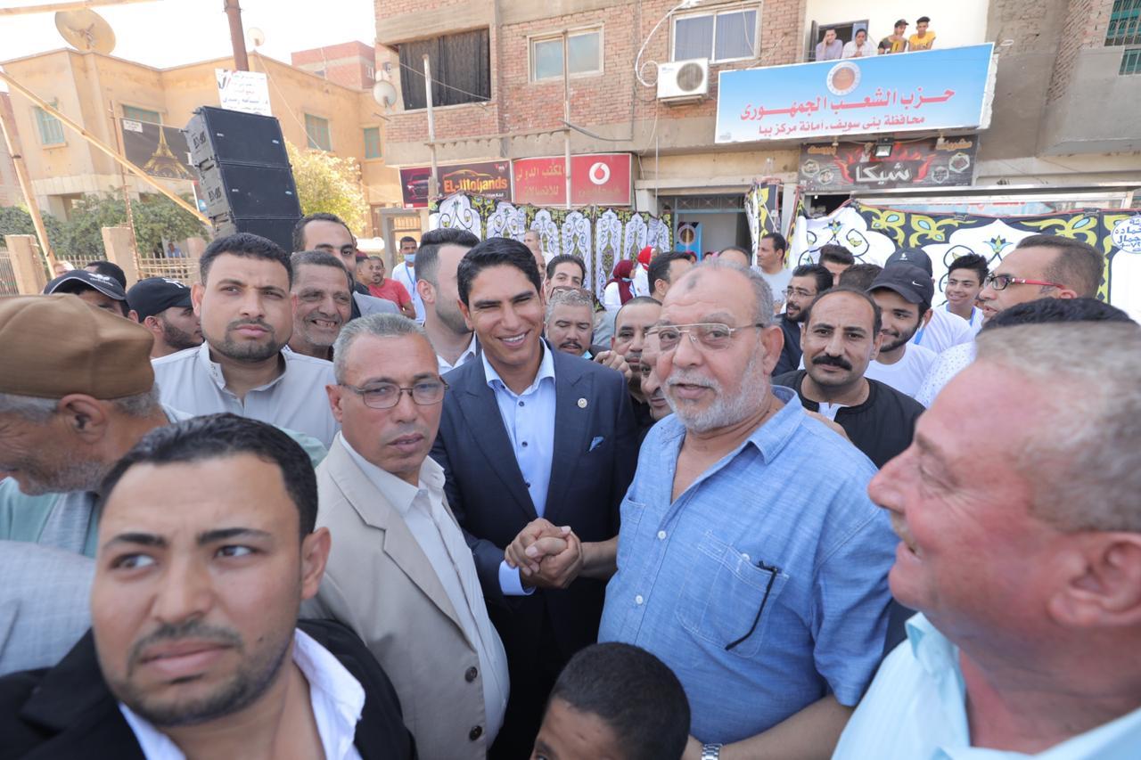 """صعايدة بني سويف يطمئنون """"أبو هشيمة"""" على مستقبل """"الشعب الجمهوري"""" بالمحافظة"""