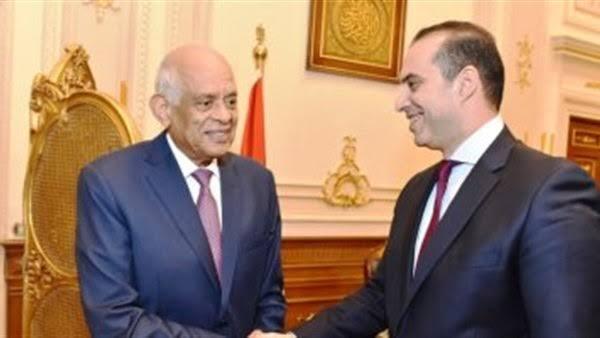المستشار محمود فوزي مع الدكتور علي عبد العال رئيس مجلس النواب