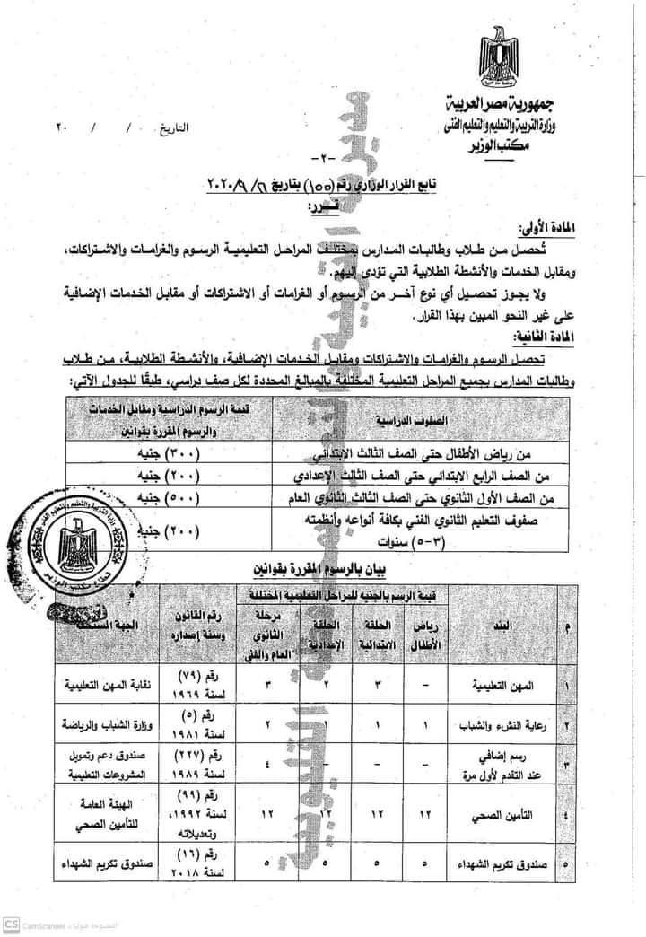 مصروفات العام الدراسي الجديد
