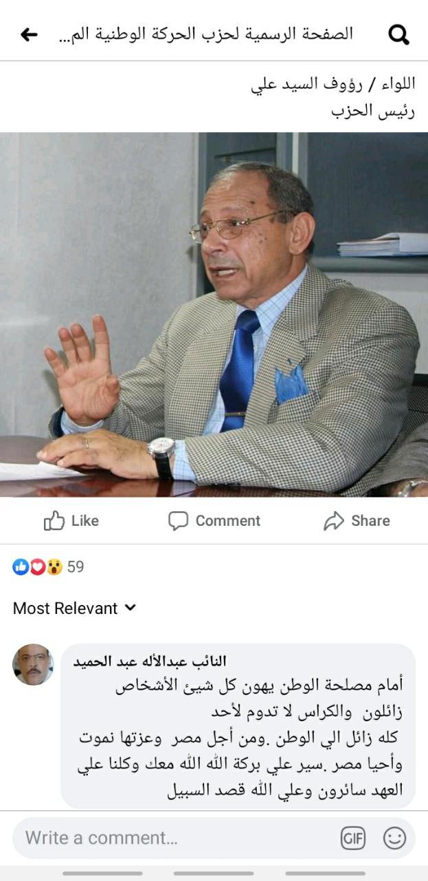 بيان حزب الحركة الوطنية المصرية عن انتخابات مجلس النواب