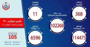 إحصائية إصابات فيروس كورونا في مصر