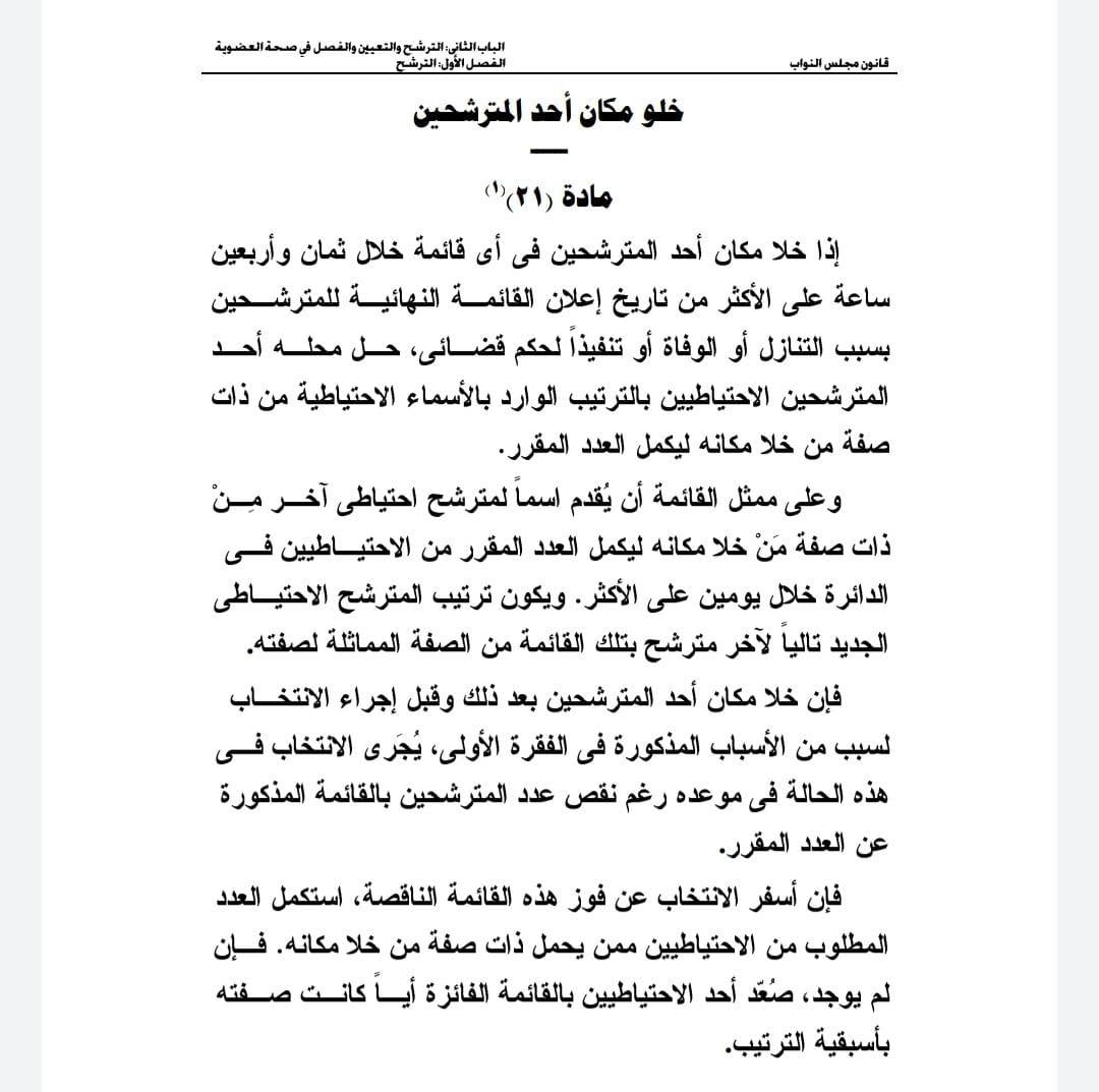 ضوابط تنظيم خلو مقعد في مجلس النواب