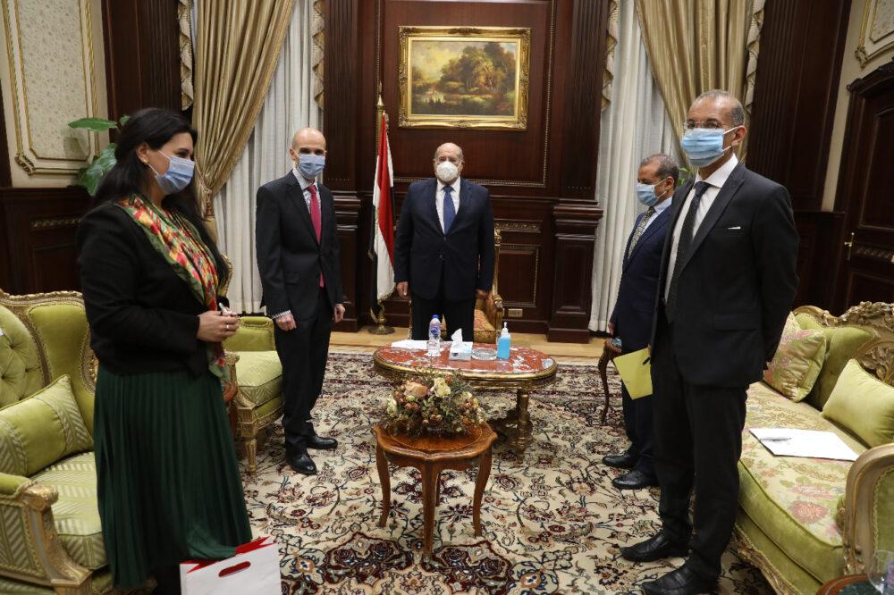 المستشار عبد الوهاب عبد الرازق رئيس مجلس الشيوخ مع سفير حورجيا في مصر